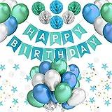 PushingBest Geburtstagsdeko, Party Deko Set Blau Alles Gute zum Geburtstag Girlande Ballons Wabenbälle Dreieck Flag String Runde String für Mädchen Jungen Männer Frauen