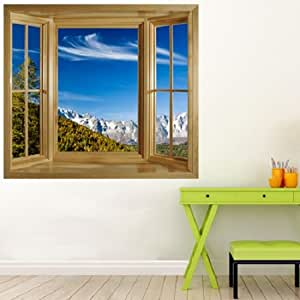 illusion fenster view wand wandbild fenster view fenster rahmen wand art view der mont blanc. Black Bedroom Furniture Sets. Home Design Ideas