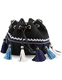 Bolso de Hombro Mujer, CONISY Elegantes Retro Etnico Pequeño Bolso Messenger de Lona Ocio - Negro
