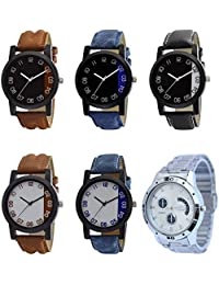 NEUTRON Latest Style Black Blue And Brown Color 6 Watch Combo (B36-B37-B38-B39-B40-B85) For Boys And Men