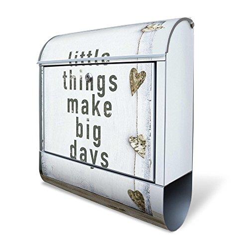 BANJADO Design Briefkasten mit Zeitungsfach, 2 Schlüssel, A4 Einwurf, silber pulverbeschichtet, mit Motiv Little Things