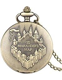 Bronze Carte du maraudeur Montre de Poche pour Hommes, Vintage à Quartz Montre de Poche Collier chaîne FOB Montres