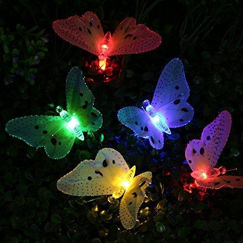 lederTEK Solar Lichterkette, Schmetterling Form, 12 LED 3,8 Meter, 8 Modi, 2 Leuchtmodi, Wasserdichte mit Lichtsensor Deko für Halloween, Außen&Innen,Weihnachten, Party, Festen (mehrfarbig) (Outdoor-led-low-voltage-beleuchtung)