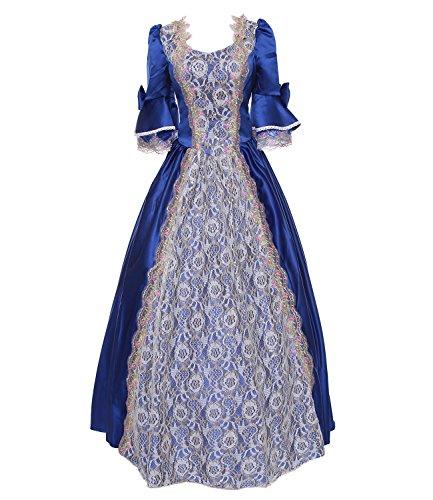 Damen Satin Viktorianisches Kleid Mittelalter Renaissance Maxi Halloween Kostüm (maßgeschneiderte, (Halloween 18th Century Kostüme)