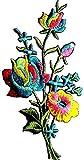 Iron on Bügel Blumen Aufnäher Aufbügler Patches Flicken Sticker Bügelbilder Applikation Blume Stickerei bestickt Kleidung Blume Glitzer bunt 7 cm