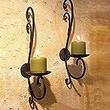 2 Stück Schwarz Metall Wand Kerzen Halter Leuchter Kerzenständer Kreative