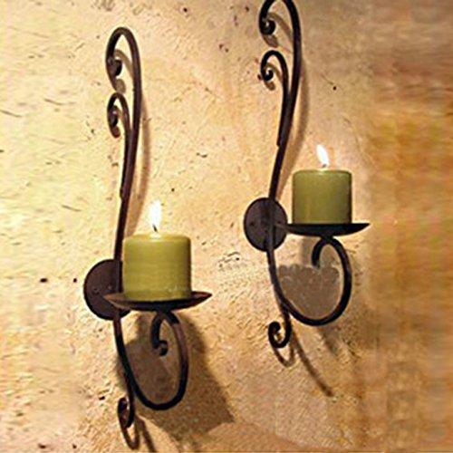Wand Hängende Kerzen (2 Stück Schwarz Metall Wand Kerzen Halter Leuchter Kerzenständer Kreative Deko Kerzen Deko Hochzeit (Kerzenständer 2#))