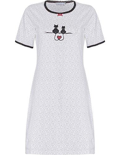 Pastunette 1081-365-3-106 Women's White Spotted Sleep Shirt Nighty Nightshirt 40 (Polka Dot Nightshirt)