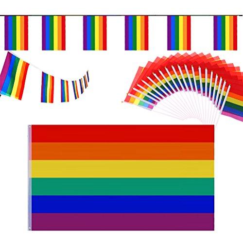 Pizies Aufhängen Rainbow Flagge Set   5ft x 3ft groß Gay Pride Flagge & 20Hand winkt Rainbow Flaggen & 1x 18ft Rainbow Wimpelkette