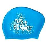 KOONARD Erwachsene Badekappe für langes Haar Frauen Wasserdicht Silikon Badekappe Damen Tauchen Kapuze Hat für Kinder (hellblau)