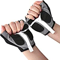 Zhuhaimei,Par de Guantes Antideslizantes Transpirables Transpirables de Medio Dedo para Adultos(Color:Blanco,Size:L)