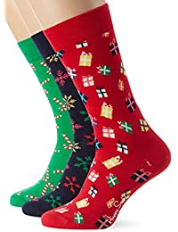 Happy Socks Chaussettes De Noël 3-pack Cadeau Pack, Rouge/vert/marine