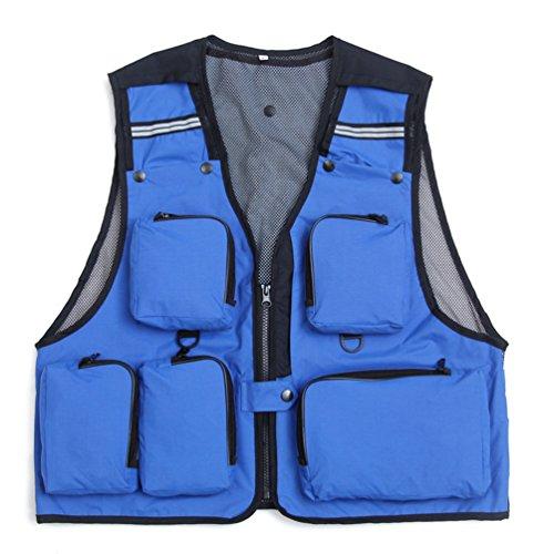 Dooxi Uomo All\'aperto Traspirante Gilet da Pesca Fotografia Multi-Tasche Quick-Dry Gilet Blu XL