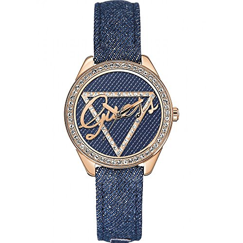 GUESS Women's Quartz Watch with Blue Dial Analogue Display and Blue Leather Bracelet W0456L6