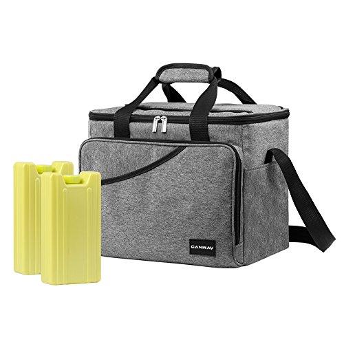 Image of Canway Kühltasche Thermotasche Thermo Tasche faltbare Isoliertasche Kühlkorb Kühlbox Campingtasche Isolierbox Picknicktasche mit Schulterriemen zur Aufbewahrung für Picknick Grillen Wandern Urlaub 25L mit 2 Stücken Kühlakkus