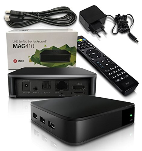 MAG 410 Android IPTV Streamer H.265 SET TOP BOX Stalker Multimedia Internet TV 4K 3D Ultra HD Full HD (Box X-stream Tv)