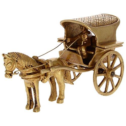 Kapasi Handicrafts Brass Horse cart (6,3x 12,7x 6,3cm)