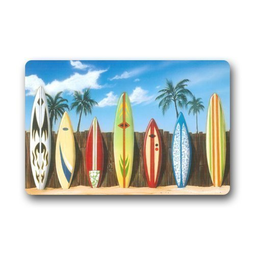 Wamnu New Hot Wind Beach Surfboard Indoor/Outdoor Doormat Door Mat Machine-Washable Floor/Bath Decor Mats Rug