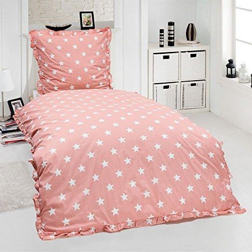 Dreamhome24 Renforcé Bettwäsche Rüschen 135x200 Landhaus Uni Farben Reißverschluß Romantik,...