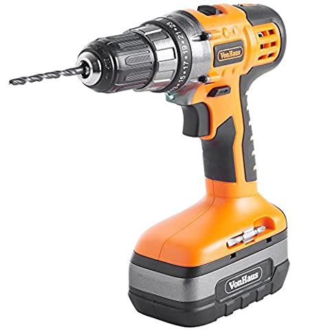 VonHaus NEW & UPDATED Version 18V Cordless Drill Driver with Built-In Spirit Level 13mm Chuck and 13-Piece Accessory Kit
