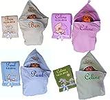 Set aus Babydecke + Kapuzenhandtuch bestickt mit Namen Geschenk Baby Taufe