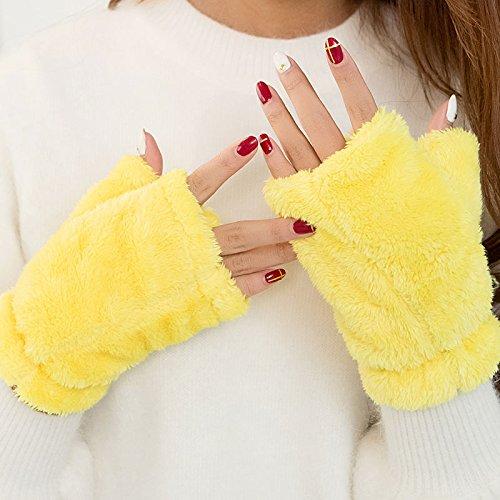 Imbottito di peluche a mezze dita guanti invernali donne carine studente coppie guanti caldi,giallo limone