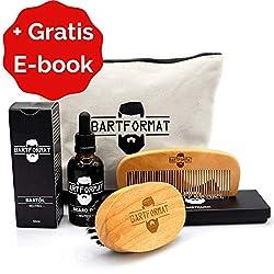 """Bartpflege Set""""WEICHMACHER"""" von BARTFORMAT - Bartöl (50 ml) + Bartkamm (Birnbaumholz) + Bartbürste (Wildschweinborsten) inkl. Kulturbeutel - Das Bartpflegeset Männer Geschenk"""