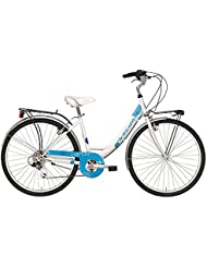 'Bicicleta Cicli Adriatica Panda de mujer, estructura de acero, rueda de 26, cambio Shimano de 6 velocidades, talla 42, 3 colores disponibles, Bianco / Azzurro
