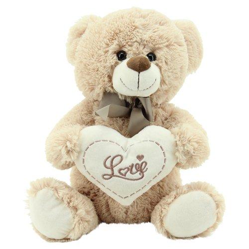 """Sweety Toys 3877 Teddy Kuschelbär Plüschbär Herzbär LOVE, supersüss mit Herz hochwertige Stickerei """" LOVE"""" beige-braun"""