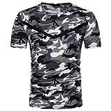 MRULIC Herren Casual Camouflage Print O-Ausschnitt Pullover Lange T-Shirt Top Bluse(B-Grau,EU-52/CN-L)