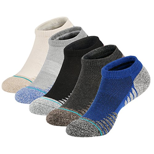 5 Pairs Men Low Cut Ankle Socks Breathable Cushioned Short Crew Socks for Running Walking Hiking Fitness Outdoor Sports