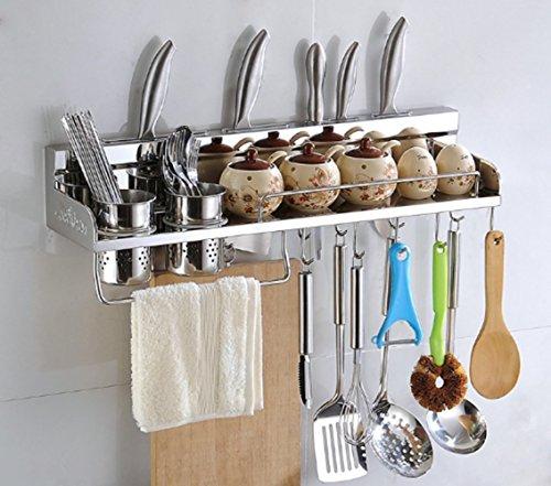 Küchenregal SUS304 Edelstahl Rack Gestell Regal für Dosen Pot Flasche Löffel Schöpflöffel Spatel Spice Rack Wandmontage ( 60cm 10 Beweglich Haken 2 Tassen )