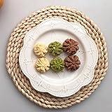 Hand Woven Gewebe rund Rattan Tisch-Sets hitzebeständig dicker Tisch Matten für Küche Home Esstisch Coffee Shop Decor, braun, Rund
