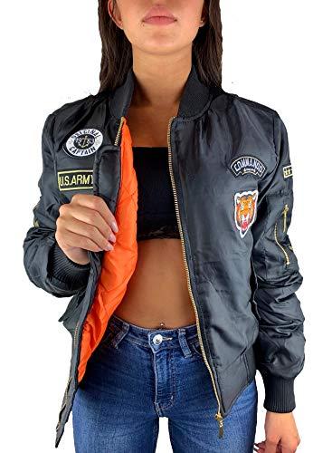 Worldclassca Damen Bomber Jacke MIT Army MILITÄR Patches ÜBERGANGSJACKE Piloten Jacke Fliegerjacke Blogger Clubwear NEU MIT REIßVERSCHLUSS NEU (S, Schwarz Patches)