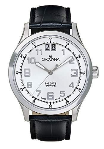 Grovana Men's Quartz Watch with Silver Dial Analogue Display and Black Leather Strap 1743.1532