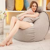 JKYQ High Back X Large Beanbag Fine Velveteen Cotton Hemp Bean Sessel Footstool Indoor Outdoor Cold Big Bed Lounge Chair für Kinder Erwachsene Teens,Gray