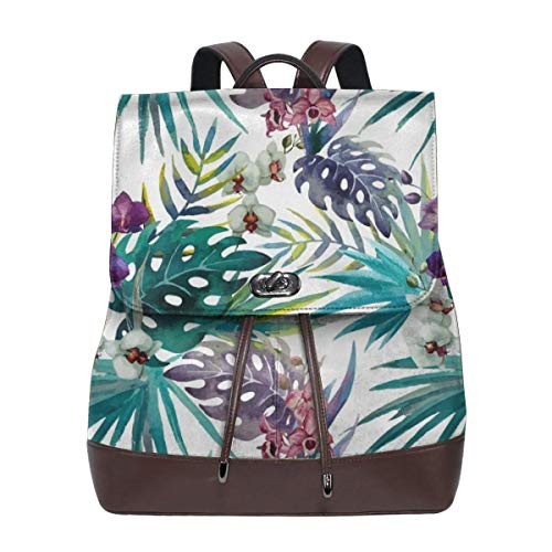 96e65cff87e2 Fashion Leather Backpack Topical Hawaii Watercolor Orchid Flowers Pineapple  Purse Waterproof Anti theft Rucksack PU Leather Bags