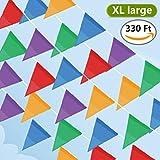 Cookey 200 Pezzi Multicolor Bandiera di Pennant, 100M Nylon Fabric Decorazioni Bandiere per Festeggiamenti Grand Opening Feste e Backyard Picnics