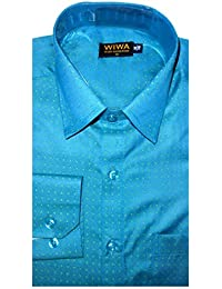 Dobby Shirt, Deep Sky Blue Color Shirt For Office And Party Wear :: Wise Wardrobe ::