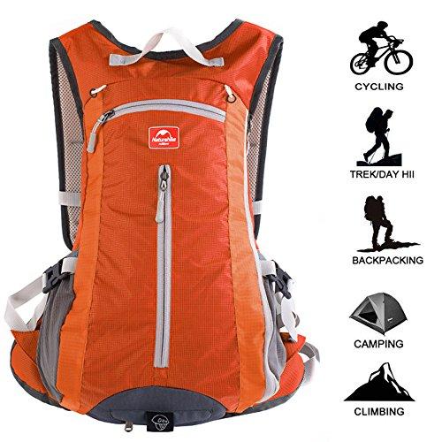 Fahrradrucksack, 15L Leicht Skirucksack (Mini, Kompakt, Wasserdicht) Kleines Fahrrad Rucksack Zum Wandern Camping Skifahren Trekking,Orange-15L (Orange Mini-rucksack)