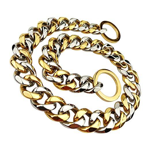 MUJING Custom Ultra Strong 15MM Slip Chain Dog Collar-für Pit Bull Mastiff Bulldog Big Breeds,E -