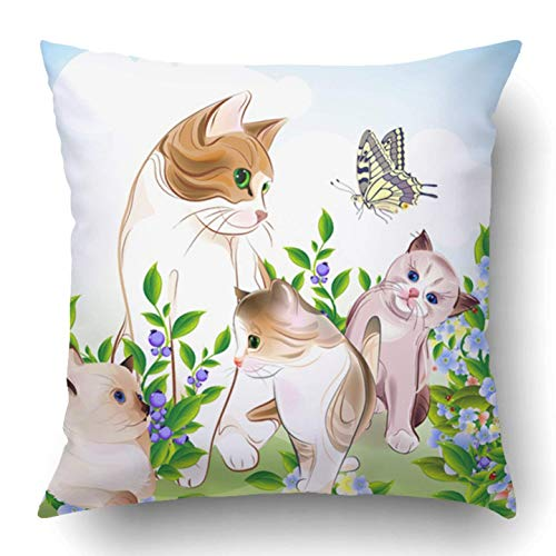 Not afraid Throw Pillow Covers Animal Happy ATS Family Cat Kittens on The Meadow Butterfly Baby Babyhood Berry Brood Cartoon Polyester 18 X 18 inch Square Hidden Zipper Decorative Pillowcase