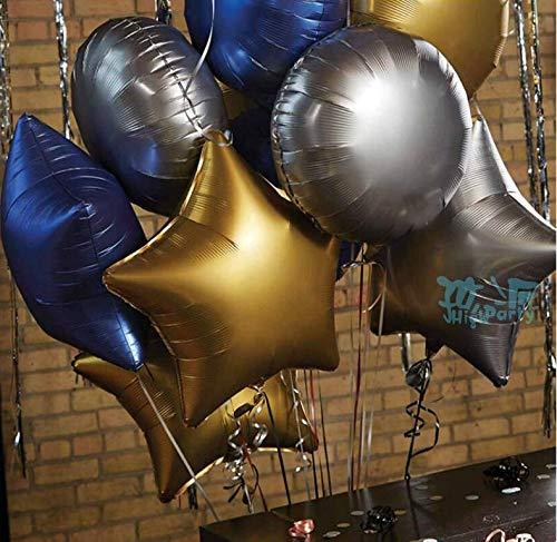 Puselo 50 Stück Luftballons Blau Luftballons Gold Konfetti Luftballon Metallic Gold und Matte Folienballon Stern Folienballon Rund und Herz Folienballon für Hochzeit,Geburtstags, Party Deko -