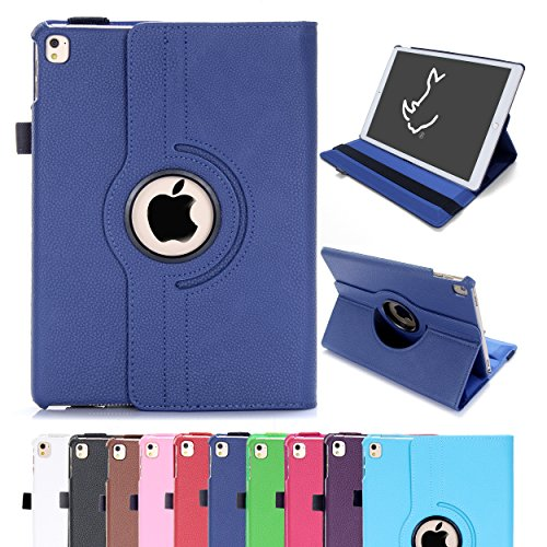 rcâ ® Leather 360 Degree Rotating Stand Case Cover For The New iPad Air 2 (iPad 6, 6th Generation Released 2014) with Full Sleep Wake Compatibility (Navy), [UK Import]