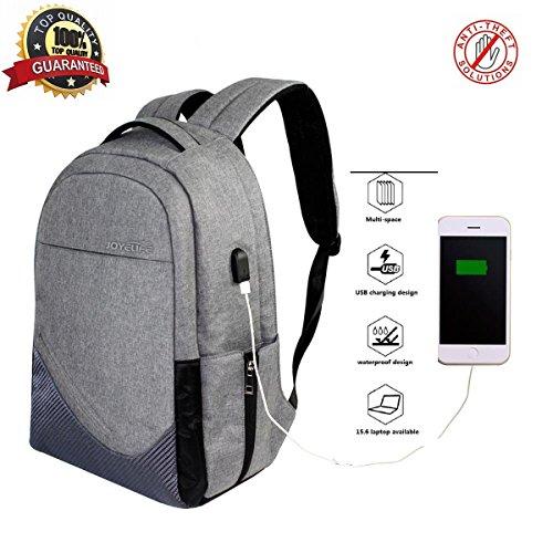 Imagen de  antirrobo de tela oxford 30l joyelife color gris, bolsa de hombro,  de escuela impermeable para portátil, para portátil de 15,6 pulgadas
