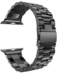 Robustrion Stainless Steel Metal Replacement for iWatch/Apple Watch 44mm Series 4 - Black