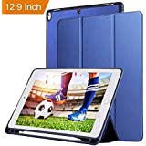 Oaky Newest IPad Pro 12.9 Inch 2017 Case With Pencil Holder Shockproof Lightweight Soft TPU Folio Smart Back Cover And Trifold Stand With Auto Sleep/Wake, Protective, Magnet Protective Function Perfect Match For Apple IPad 12.9 Pro 2017 With Built-in Appl