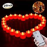 LED Kerzen, Morbuy Fernbedienung Flammenlose Kerzen 24PC Batteriebetriebene für Dekorations Weihnachtsbaum Hochzeit Geburtstags Weihnachts (Rot)