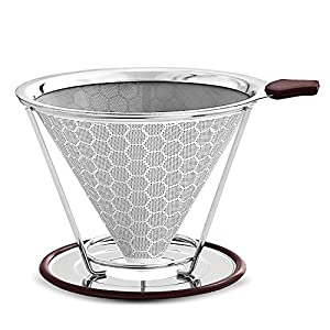 YBWM Pour Over Coffee Filter Holder,FDA Certified Stainless Steel Reusable Filter