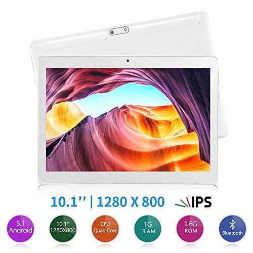 Yuntab 10.1 pollici 3g Tablet Android 5.1 Quad core 1,3GHz IPS 1280 * 800 (16 Go Flash 1GB di RAM, GPS, Wi-Fi, ridurre in pani 3G SIM doppio Phablet 5000mAh batteria